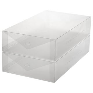 Ybmhome Plastic Shoe Box Shoe Storage Foldable Clear Container for Closet, Shelf Organizer (Boot Box (Set of 2))