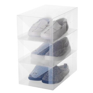 Ybmhome Plastic Shoe Box Shoe Storage Foldable Clear Container for Closet, Shelf Organizer (Men's Shoe Box (Set of 3))