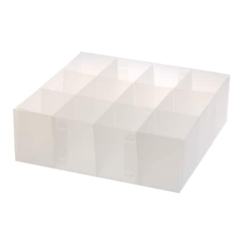 Ybmhome Foldable Organizer Cube Bin Frosty white 12 Section Drawer
