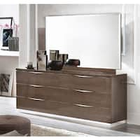 Luca Home Cameron Brown Wood Double Dresser and Mirror