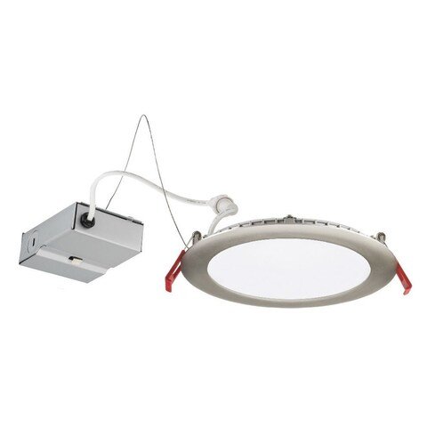 "Lithonia Lighting 12.9W Ultra Thin 6"" Dimmable Recessed Ceiling Light, 4000K, Brushed Nickel, Lower Lumen Version"