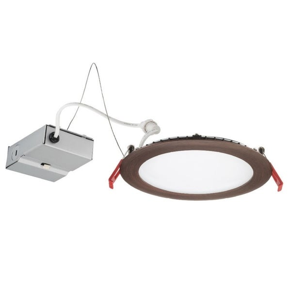 """Lithonia Lighting 12.9W Ultra Thin 6"""" Dimmable Recessed Ceiling Light, 4000K, Oil Rubbed Bronze, Lower Lumen Version"""