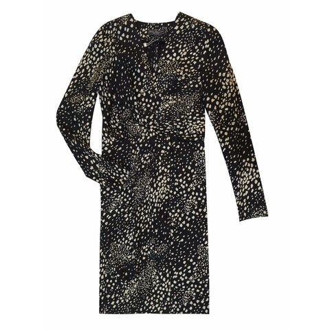 Salvatore Ferragamo Size 4 Black Printed Silk and Wool Wrap Dress