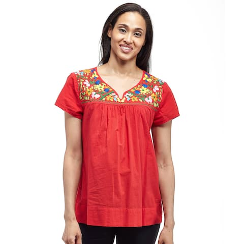 La Cera Women's Cap Sleeve Embroidered Yoke Blouse
