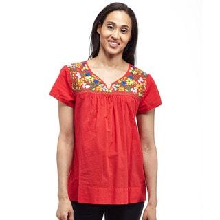 La Cera Women's Cap Sleeve Embroidered Yoke Blouse