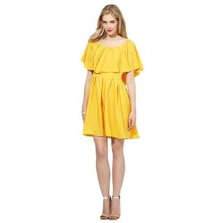 Cynthia Steffe Size 6 Yellow Flutter Dress