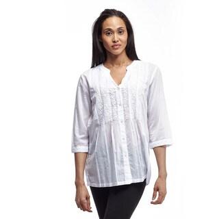 La Cera Women's Three-Quarter Sleeve Mandarin Collar Blouse
