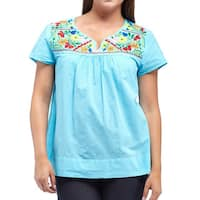 La Cera Women's Plus Size Cap Sleeve Embroidered Yoke Blouse