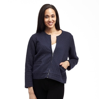 La Cera Women's Zip Front Round Neck Jacket