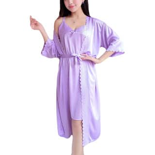 Women's Silky-Feel Sleep Wear with Matching Robe|https://ak1.ostkcdn.com/images/products/16696923/P23014450.jpg?impolicy=medium