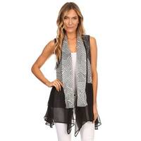 High Secret Women's Black and White Geometric Print Loose Fit Open Front Vest Cardigan