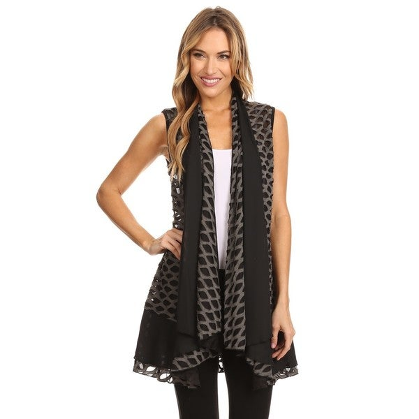High Secret Women's Black and Grey Laser Cut Loose Fit Open Front Vest Cardigan