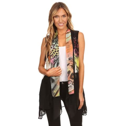 High Secret Women's Multicolor Print Loose Fit Open Front Vest Cardigan