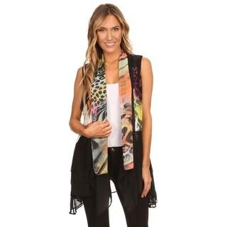 High Secret Women's Multicolor Print Loose Fit Open Front Vest Cardigan
