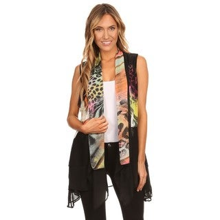 High Secret Women's Multicolor Print Loose Fit Open Front Vest Cardigan (4 options available)