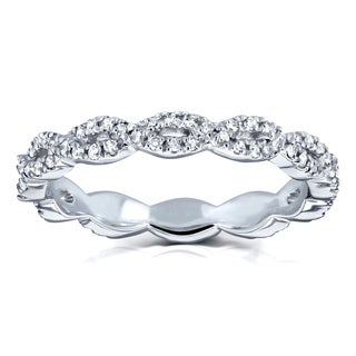 Annello by Kobelli 10k White Gold 1/3ct TDW Diamond Braided Eternity Wedding Ring (H-I, I2)
