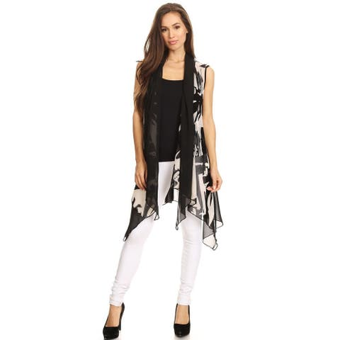 High Secret Women's Black and White Abstract Print Open Front Vest Cardigan