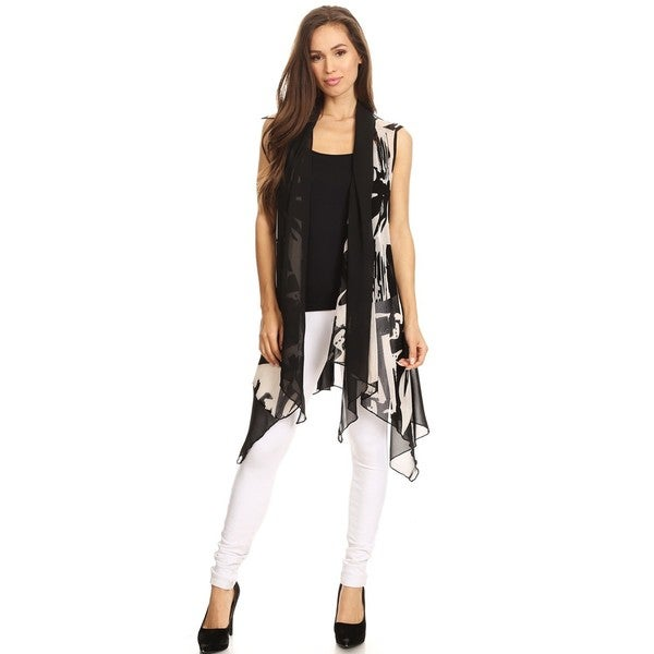 3bab2115a268 High Secret Women's Black and White Abstract Print Open Front Vest  Cardigan
