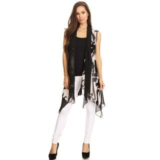 High Secret Women's Black and White Abstract Print Open Front Vest Cardigan (4 options available)