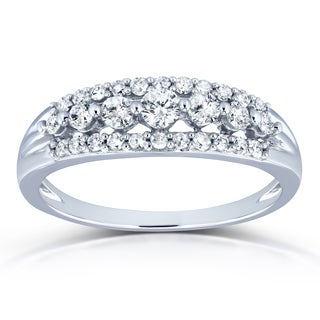 Annello by Kobelli 10k White Gold 2/5ct TDW Diamond Multi-row Wedding Ring (H-I, I2)