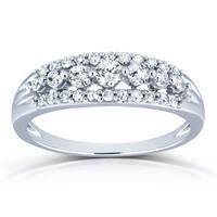 Annello by Kobelli 10k White Gold 2/5ct TDW Diamond Multi-row Wedding Ring (H-I, I2)