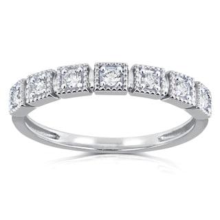 Annello by Kobelli 10k White Gold 1/6ct TDW Diamond Wedding Ring (H-I, I2)