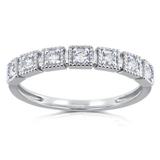Annello by Kobelli 10k White Gold 1/6ct TDW Diamond Wedding Ring (H-I, I2)
