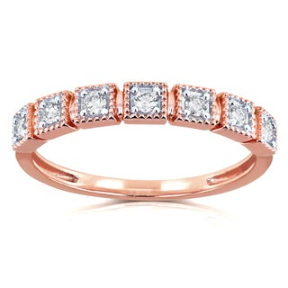 Annello by Kobelli 10k Rose Gold 1/6ct TDW Diamond Wedding Ring (H-I, I2)