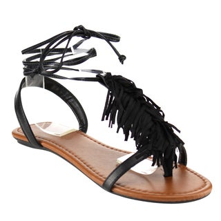 Cityclassified IA74 Women's T-strap Tassels Ankle Laces Flat Sandals