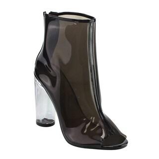 Forever IE34 Women's Peep Toe Transparent Lucite Heel Back Zipper Ankle Bootie