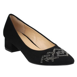 Beston JA06 Women's Low Chunky Heel Studs Deco Pumps Shoes
