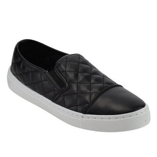 QUPID FI37 Women's Comfort Slip On Quilted Sneakers