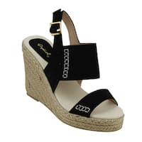 QUPID FG61 Women's Slingback Stitched Espadrille Platform Wedge Sandals