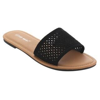 Top Moda EH89 Women's Slip On Cut Out Flats Slide Sandals