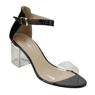 Nature Breeze FI38 Women's Lucite Chunky Heel Ankle Strap Dress Sandals