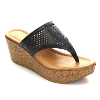 DBDK AB56 Women's Slip On Perforated Wedge Platform High Heel Thong Sandals