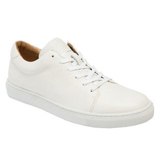 AH71 Unisex White Leather Lace-up Sneakers