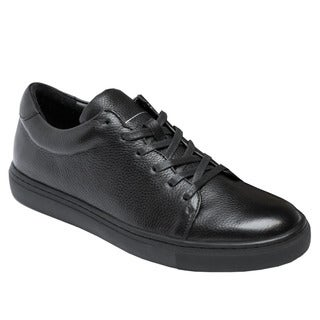 Nights With AH68 Unisex Black Leather Comfort Lace-up Half Size Bigger Sneakers