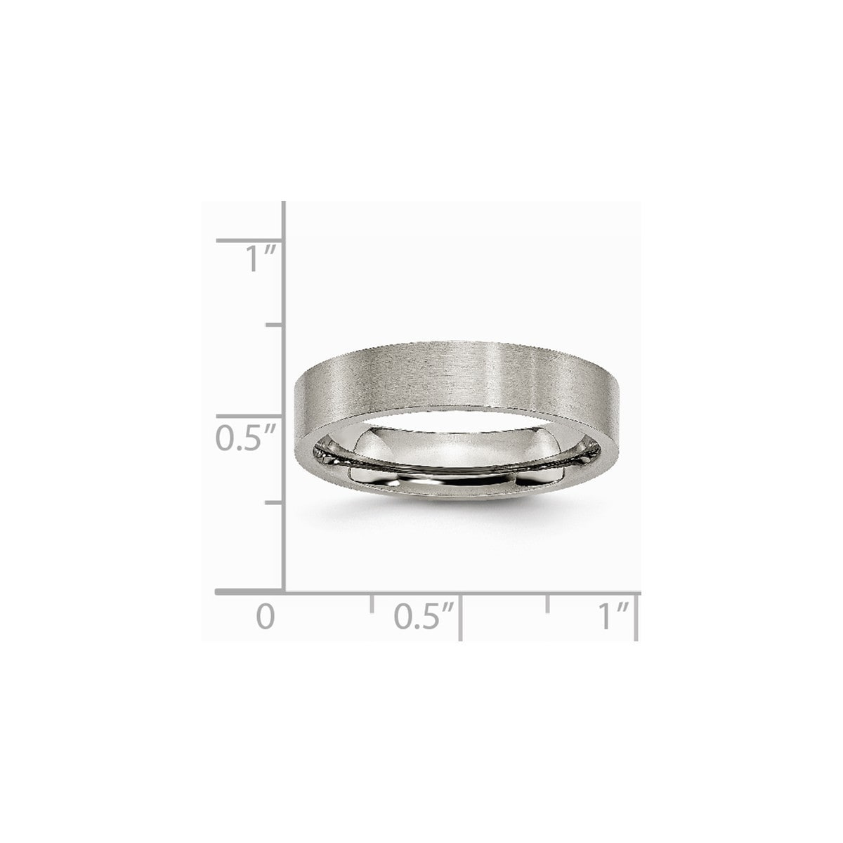 Titanium Ridged Edge 8mm Brushed Wedding Ring Band Size 7.50 Classic Flat Bridal & Wedding Party Jewelry