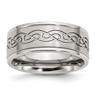 Stainless Steel Scroll Design 9mm Brushed And Polished Ridged Edge Band (Option: 13.5)