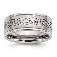 Stainless Steel Scroll Design 9mm Brushed And Polished Ridged Edge Band