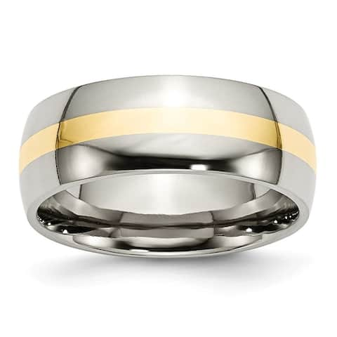 Chisel Stainless Steel and 14k Yellow Inlay 8mm Polished Band