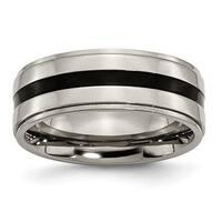 Titanium Enameled Ridged Edge 8mm Polished Band - Black