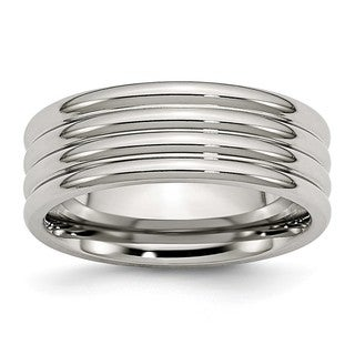 Link to Chisel Stainless Steel Grooved 8mm Polished Band Similar Items in Rings