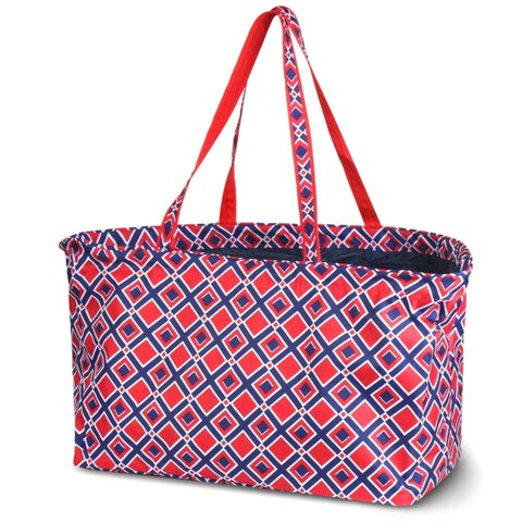 Zodaca Times Square Red Stylish Large All Purpose Open Top Handbag Laundry Shopping Utility Tote Carry Bag