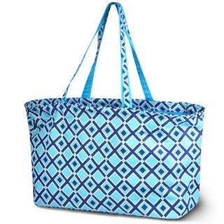 Zodaca Times Square Turquoise Stylish Large All Purpose Open Top Handbag Laundry Shopping Utility Tote Carry Bag