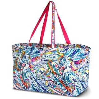 Zodaca Times Square Paisley Stylish Large All Purpose Open Top Handbag Laundry Shopping Utility Tote Carry Bag