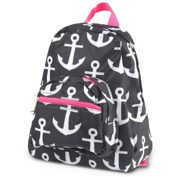 03dcf229f489 Zodaca Black Anchors with Pink Trim Stylish Kids Small Backpack Outdoor  Shoulder School Zipper Bag with