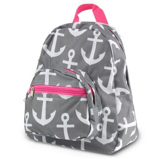 Zodaca Gray Anchors with Pink Trim Stylish Kids Small Backpack Outdoor Shoulder School Zipper Bag with Adjustable Strap