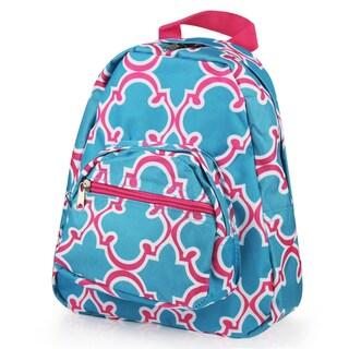 Zodaca Blue Quatrefoil Bright Stylish Kids Small Backpack Outdoor Shoulder School Zipper Bag with Adjustable Strap